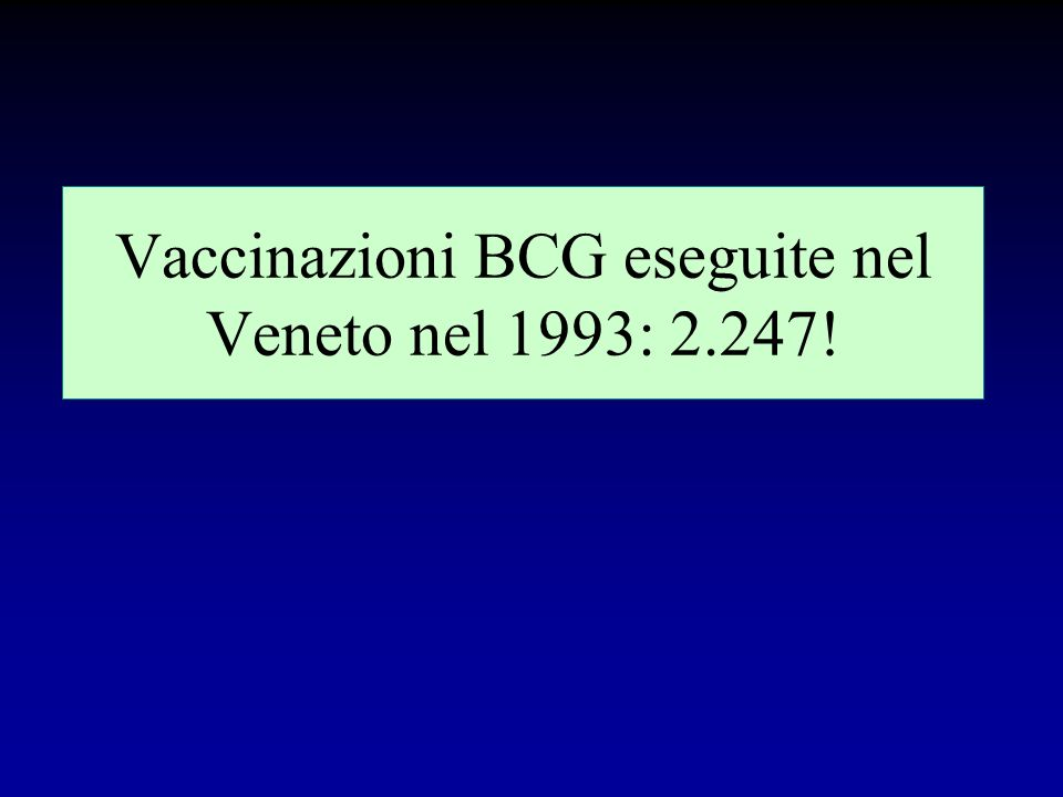 Studio inglese sul BCG (anno 1992) (in G.B. la vaccinazione è obbligatoria a 13 anni) probabilità di malattia tubercolare : –non vaccinato :1 : 2.700
