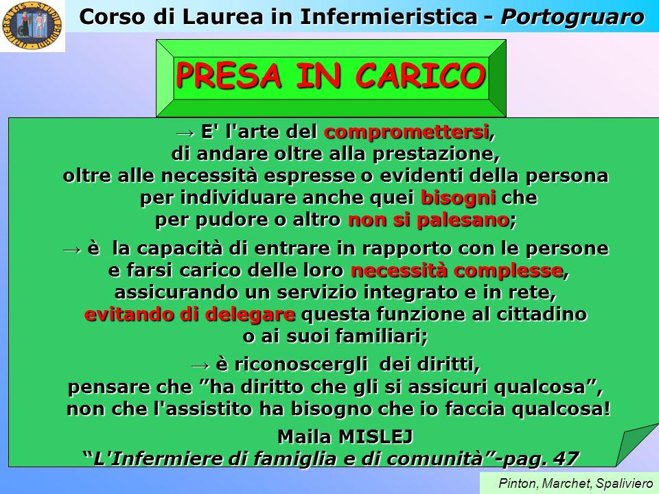 Corso di Laurea in Infermieristica - Portogruaro paliviero Pinton, Marchet, Spaliviero PRESA IN CARICO E' l'arte del compromettersi, E' l'arte del com