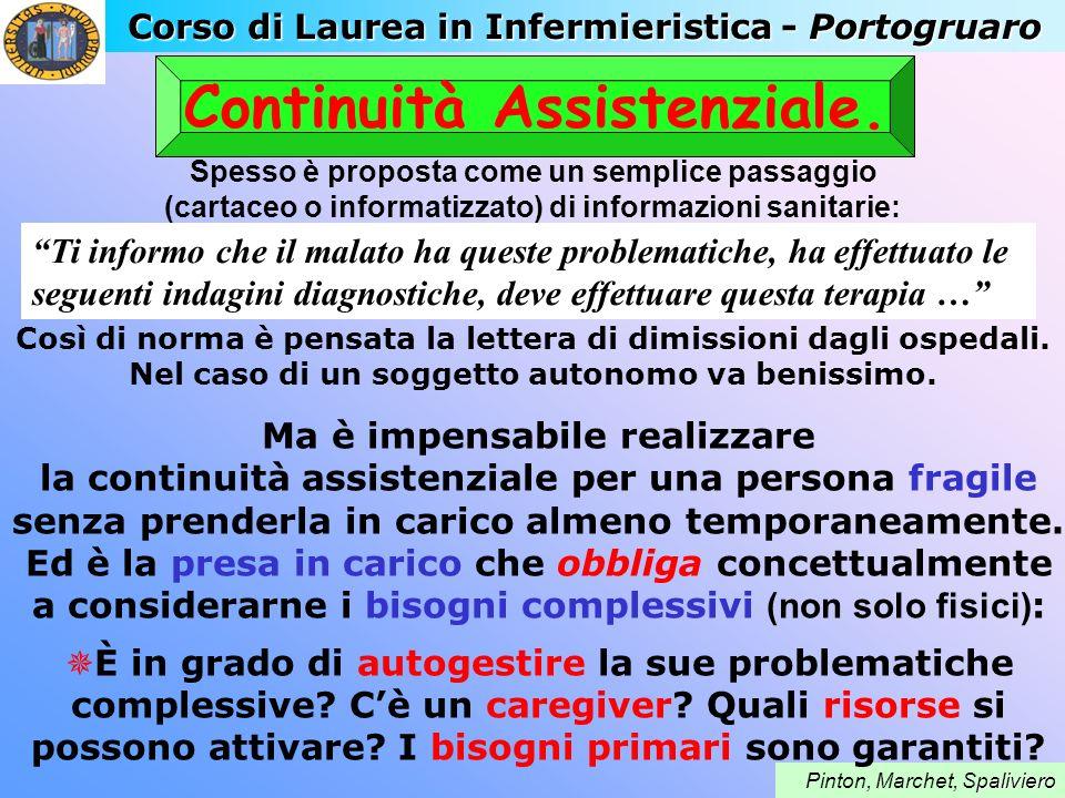 Corso di Laurea in Infermieristica - Portogruaro paliviero Pinton, Marchet, Spaliviero Continuità Assistenziale. Spesso è proposta come un semplice pa