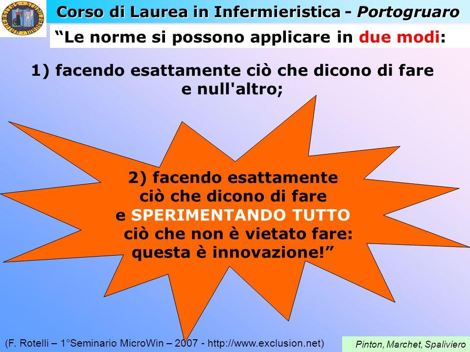 Corso di Laurea in Infermieristica - Portogruaro paliviero Pinton, Marchet, Spaliviero (F. Rotelli – 1°Seminario MicroWin – 2007 - http://www.exclusio
