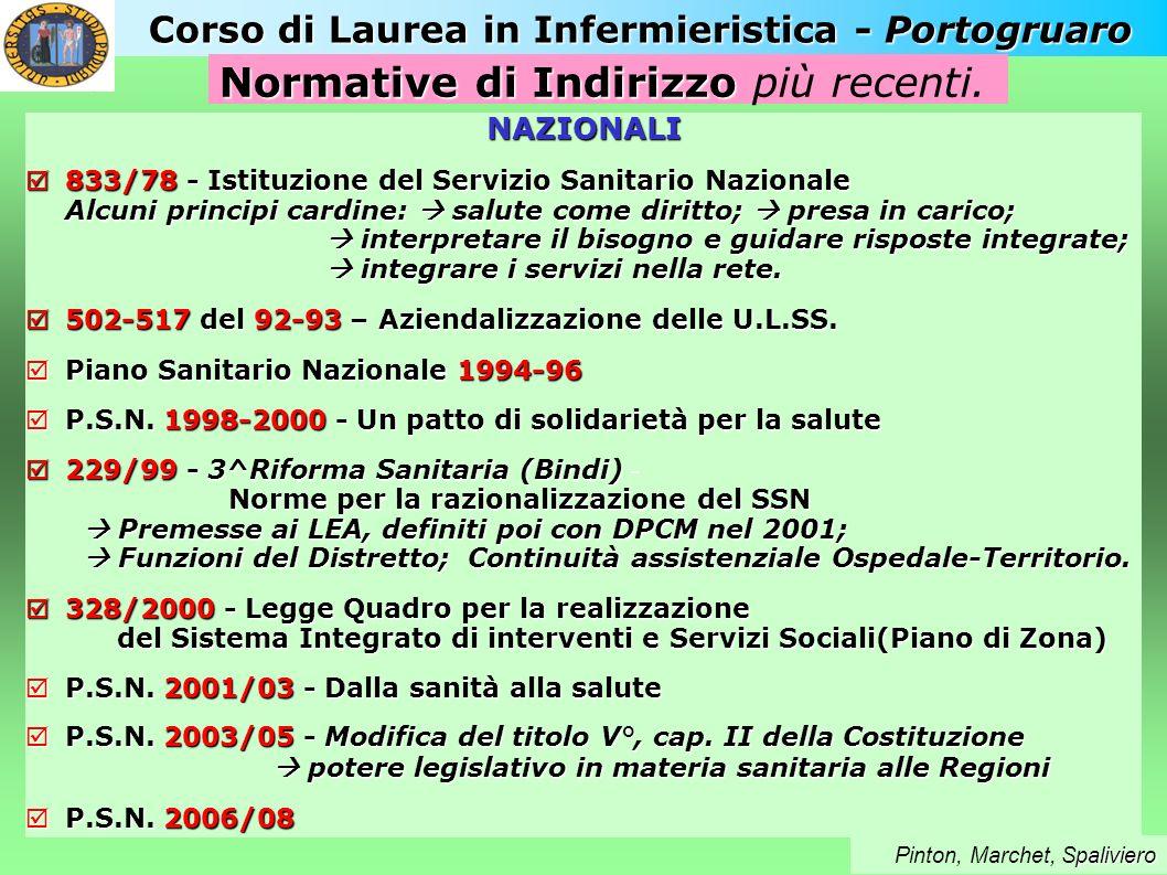 Corso di Laurea in Infermieristica - Portogruaro NAZIONALI 833/78 - Istituzione del Servizio Sanitario Nazionale Alcuni principi cardine: salute come
