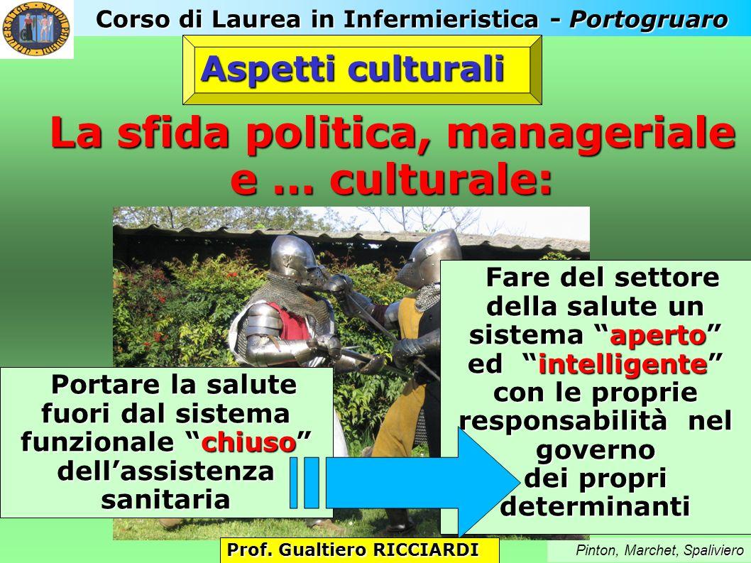 Corso di Laurea in Infermieristica - Portogruaro paliviero Pinton, Marchet, Spaliviero La sfida politica, manageriale e … culturale: Aspetti culturali