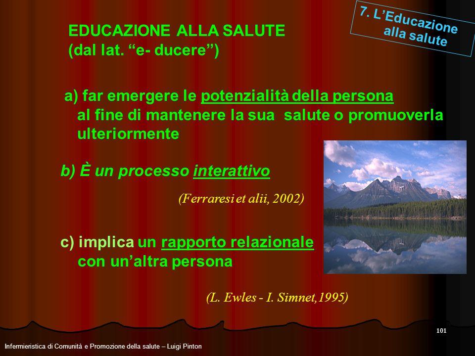 101 7. LEducazione alla salute EDUCAZIONE ALLA SALUTE (dal lat. e- ducere) b) È un processo interattivo c) implica un rapporto relazionale con unaltra
