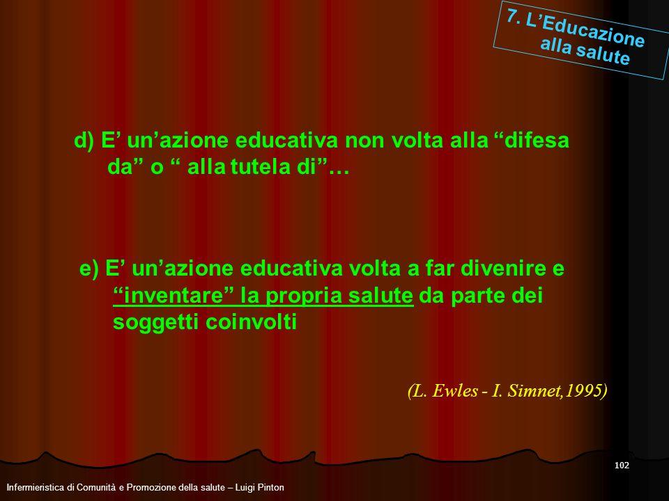 102 d) E unazione educativa non volta alla difesa da o alla tutela di… e) E unazione educativa volta a far divenire e inventare la propria salute da p