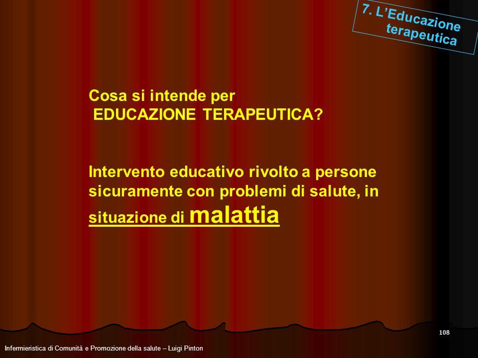 108 7. LEducazione terapeutica Cosa si intende per EDUCAZIONE TERAPEUTICA? Intervento educativo rivolto a persone sicuramente con problemi di salute,