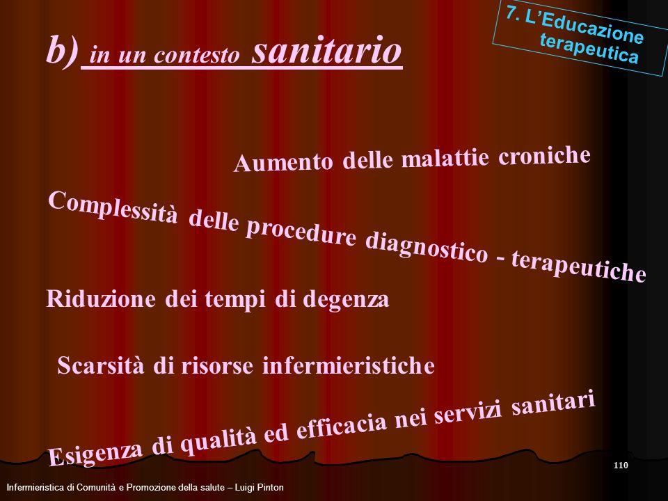 110 b) in un contesto sanitario 7. LEducazione terapeutica Complessità delle procedure diagnostico - terapeutiche Aumento delle malattie croniche Esig