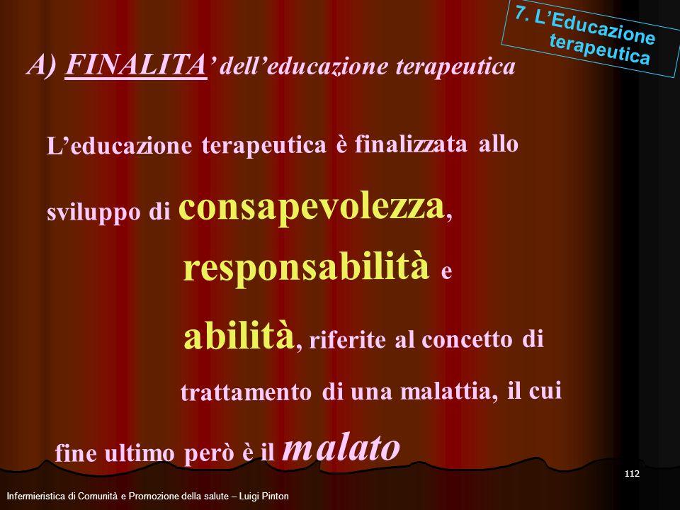 112 7. LEducazione terapeutica A) FINALITA delleducazione terapeutica Leducazione terapeutica è finalizzata allo sviluppo di consapevolezza, responsab