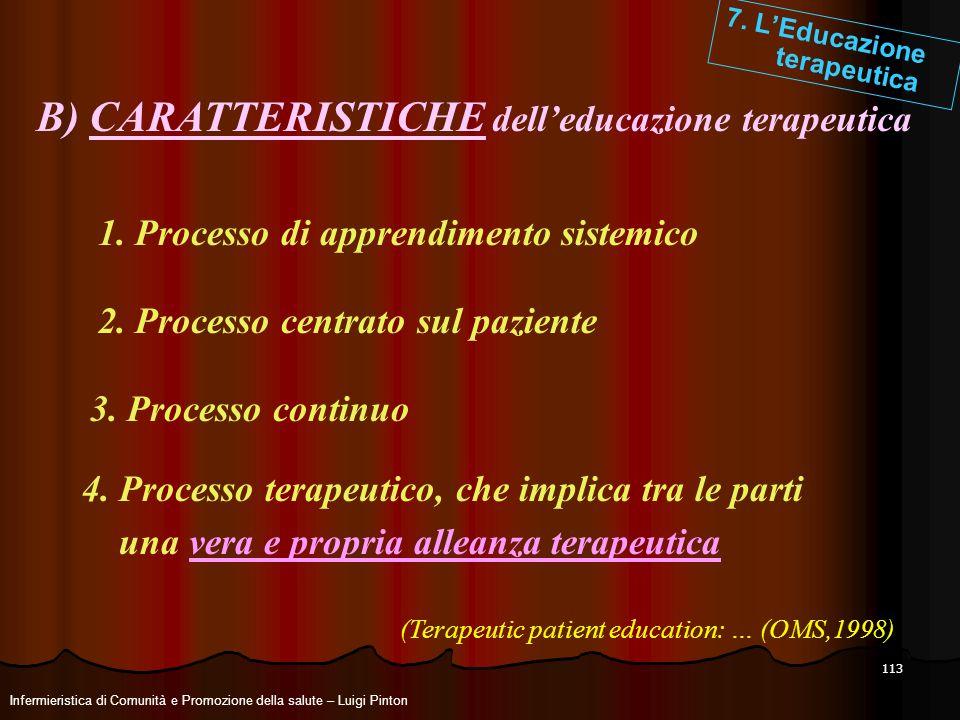 113 7. LEducazione terapeutica B) CARATTERISTICHE delleducazione terapeutica 2. Processo centrato sul paziente 1. Processo di apprendimento sistemico