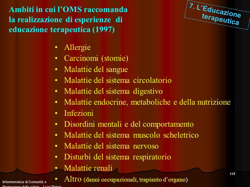 118 Ambiti in cui lOMS raccomanda la realizzazione di esperienze di educazione terapeutica (1997) 7. LEducazione terapeutica Allergie Carcinomi (stomi