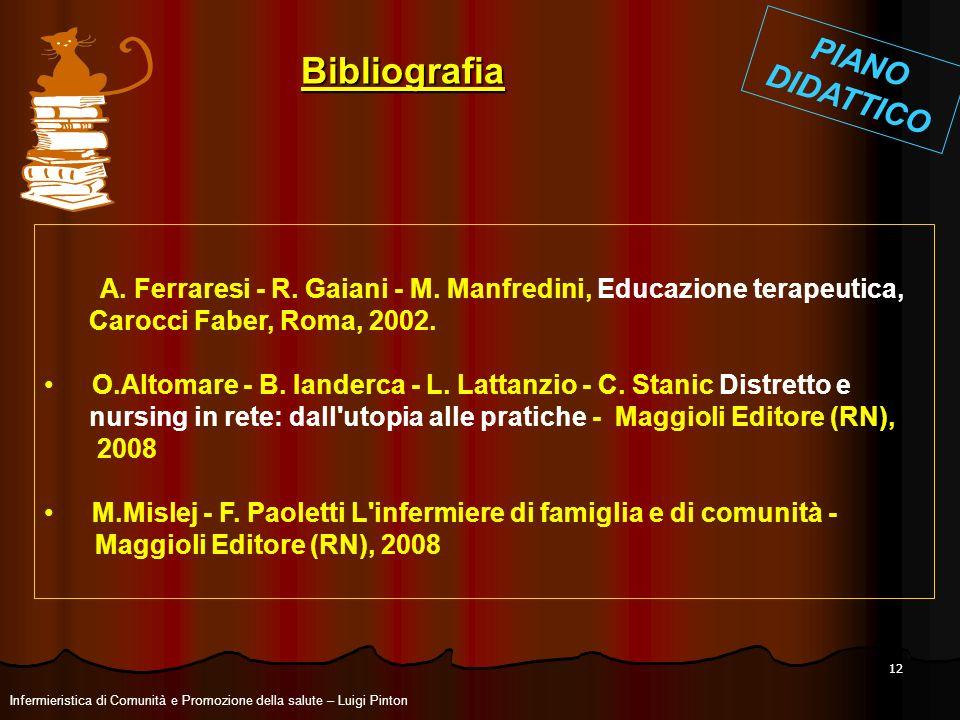 12 A. Ferraresi - R. Gaiani - M. Manfredini, Educazione terapeutica, Carocci Faber, Roma, 2002. O.Altomare - B. Ianderca - L. Lattanzio - C. Stanic Di