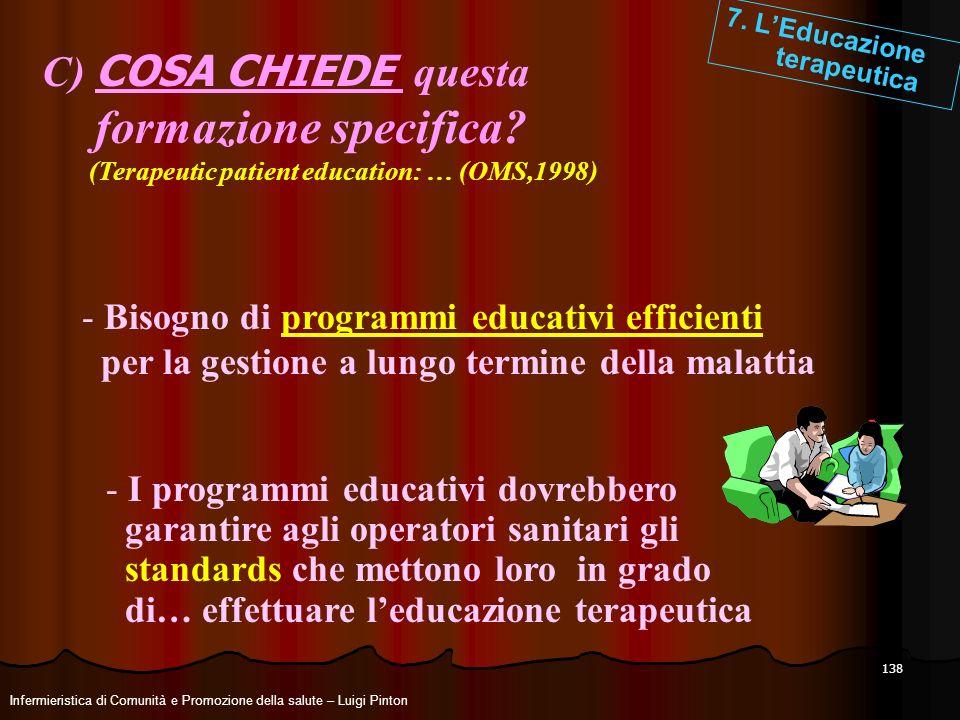 138 7. LEducazione terapeutica C) COSA CHIEDE questa formazione specifica? (Terapeutic patient education: … (OMS,1998) - Bisogno di programmi educativ