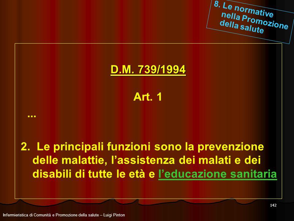 142 D.M. 739/1994 Art. 1... 2. Le principali funzioni sono la prevenzione delle malattie, lassistenza dei malati e dei disabili di tutte le età e ledu