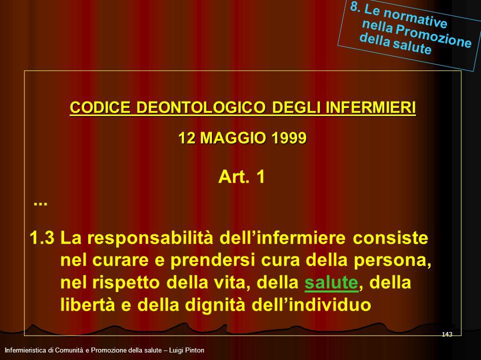 143 CODICE DEONTOLOGICO DEGLI INFERMIERI 12 MAGGIO 1999 Art. 1... 1.3 La responsabilità dellinfermiere consiste nel curare e prendersi cura della pers