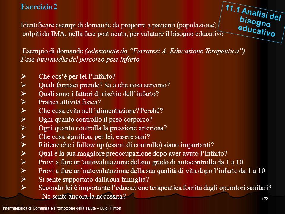 172 Esercizio 2 Identificare esempi di domande da proporre a pazienti (popolazione) colpiti da IMA, nella fase post acuta, per valutare il bisogno edu
