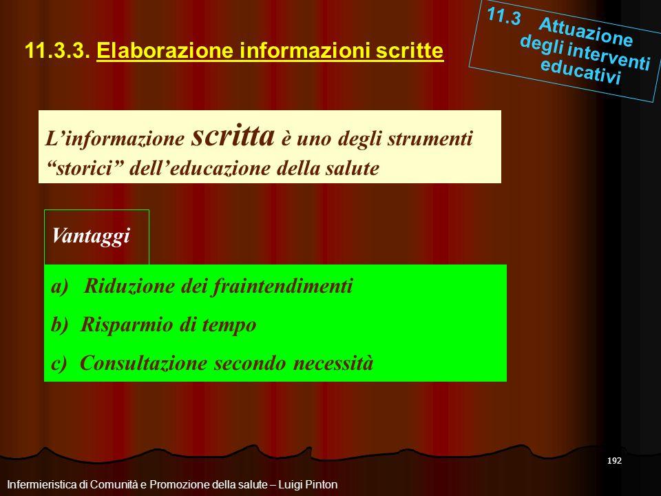 192 11.3.3. Elaborazione informazioni scritte 11.3 Attuazione degli interventi educativi Infermieristica di Comunità e Promozione della salute – Luigi