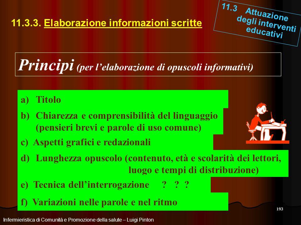 193 11.3.3. Elaborazione informazioni scritte 11.3 Attuazione degli interventi educativi Infermieristica di Comunità e Promozione della salute – Luigi