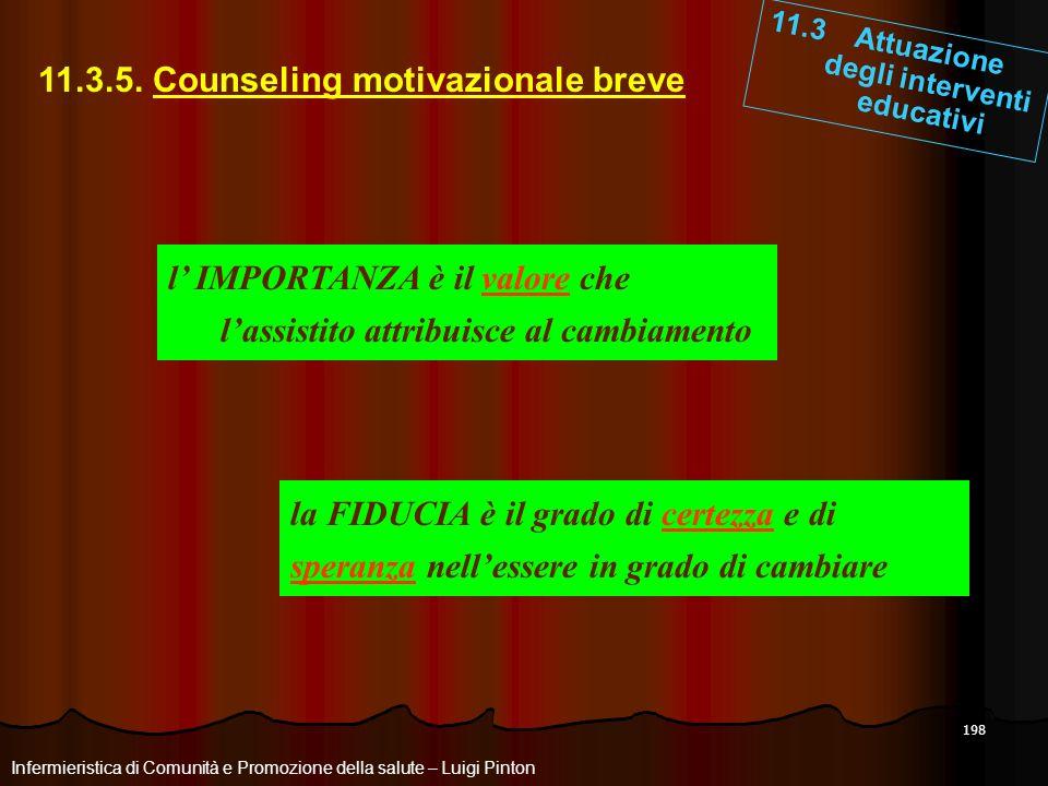 198 11.3 Attuazione degli interventi educativi Infermieristica di Comunità e Promozione della salute – Luigi Pinton 11.3.5. Counseling motivazionale b