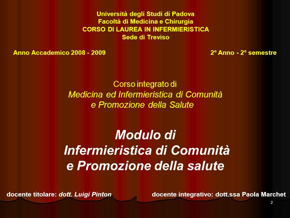 2 Corso integrato di Medicina ed Infermieristica di Comunità e Promozione della Salute Modulo di Infermieristica di Comunità e Promozione della salute