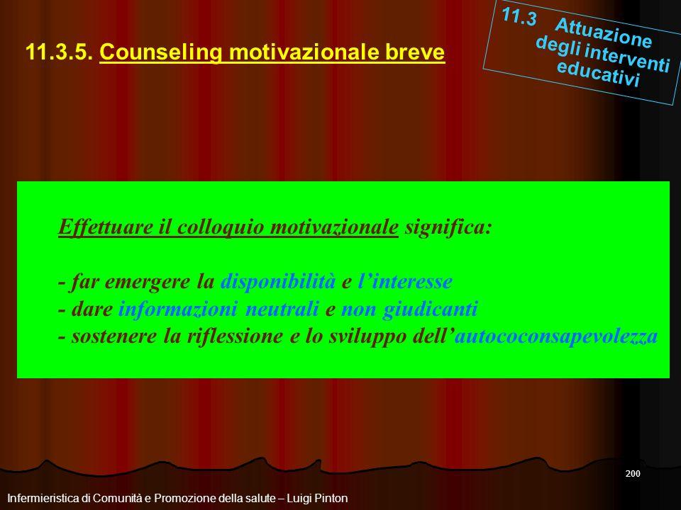 200 11.3 Attuazione degli interventi educativi Infermieristica di Comunità e Promozione della salute – Luigi Pinton 11.3.5. Counseling motivazionale b