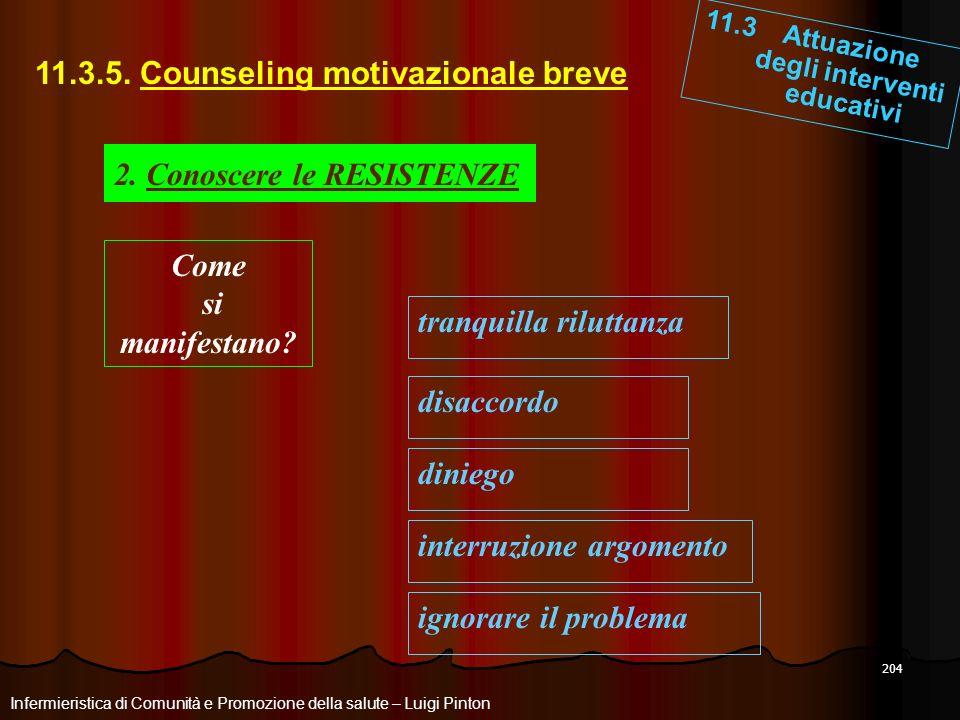 204 11.3 Attuazione degli interventi educativi Infermieristica di Comunità e Promozione della salute – Luigi Pinton 11.3.5. Counseling motivazionale b