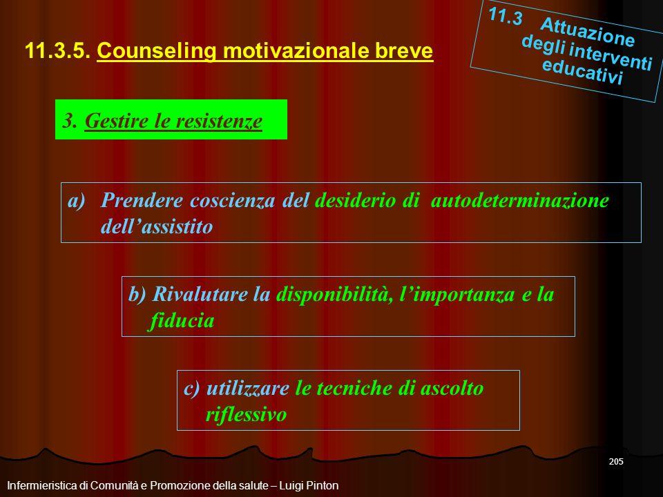 205 11.3 Attuazione degli interventi educativi Infermieristica di Comunità e Promozione della salute – Luigi Pinton 11.3.5. Counseling motivazionale b