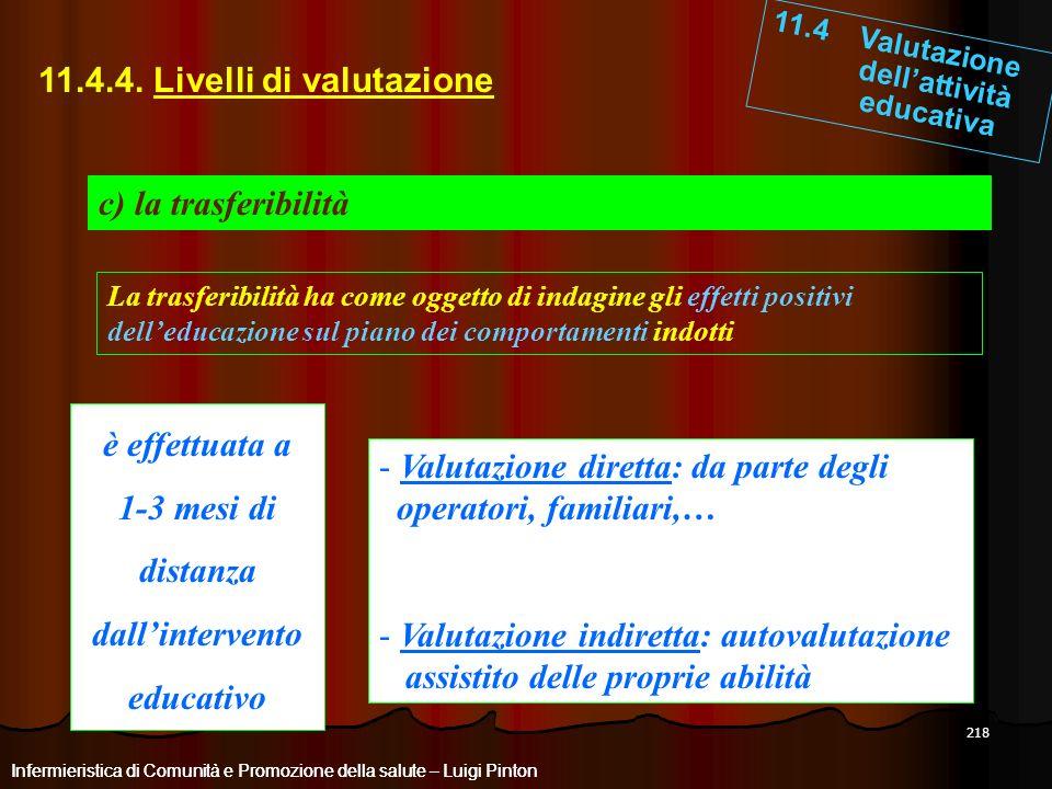 218 11.4 Valutazione dellattività educativa Infermieristica di Comunità e Promozione della salute – Luigi Pinton 11.4.4. Livelli di valutazione c) la