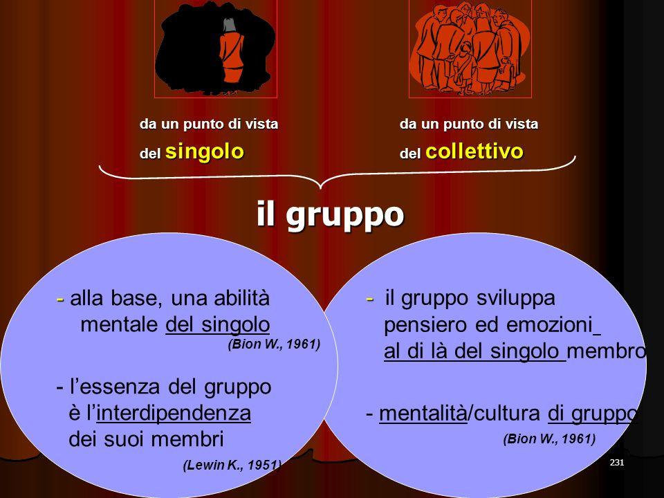 231 il gruppo da un punto di vista del singolo da un punto di vista del collettivo - - il gruppo sviluppa pensiero ed emozioni al di là del singolo me