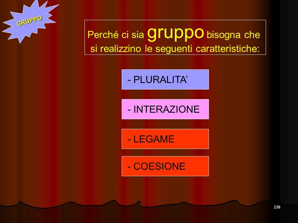 238 - PLURALITA Perché ci sia gruppo bisogna che si realizzino le seguenti caratteristiche: - INTERAZIONE - LEGAME - COESIONE GRUPPO