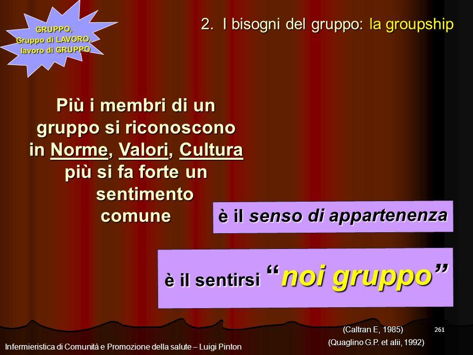 261 GRUPPO, Gruppo di LAVORO, lavoro di GRUPPO Più i membri di un gruppo si riconoscono in Norme, Valori, Cultura più si fa forte un sentimento comune