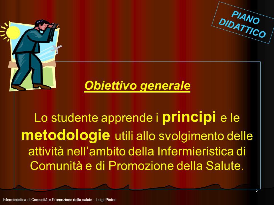 5 Infermieristica di Comunità e Promozione della salute – Luigi Pinton Obiettivo generale Lo studente apprende i principi e le metodologie utili allo