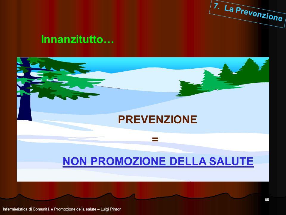 68 7. La Prevenzione Innanzitutto… PREVENZIONE = NON PROMOZIONE DELLA SALUTE Infermieristica di Comunità e Promozione della salute – Luigi Pinton