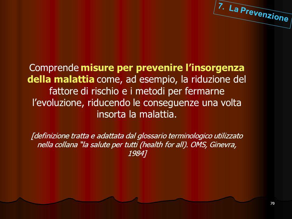70 Comprende misure per prevenire linsorgenza della malattia come, ad esempio, la riduzione del fattore di rischio e i metodi per fermarne levoluzione