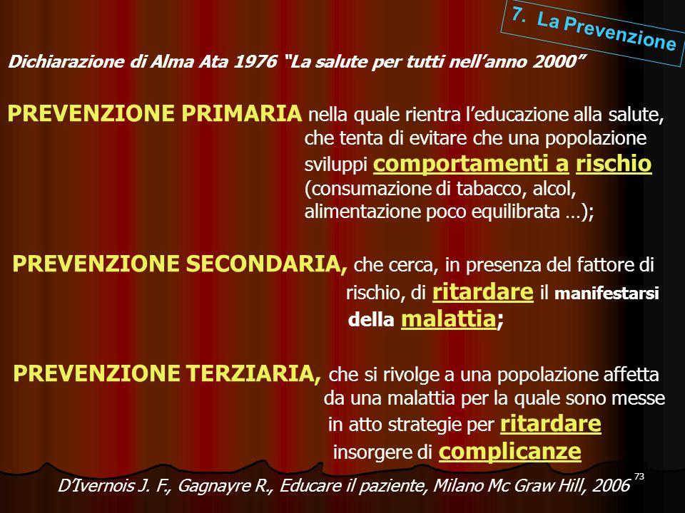 73 Dichiarazione di Alma Ata 1976 La salute per tutti nellanno 2000 PREVENZIONE PRIMARIA nella quale rientra leducazione alla salute, che tenta di evi