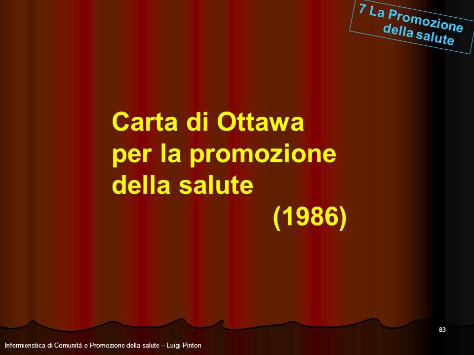 83 Carta di Ottawa per la promozione della salute (1986) 7 La Promozione della salute Infermieristica di Comunità e Promozione della salute – Luigi Pi
