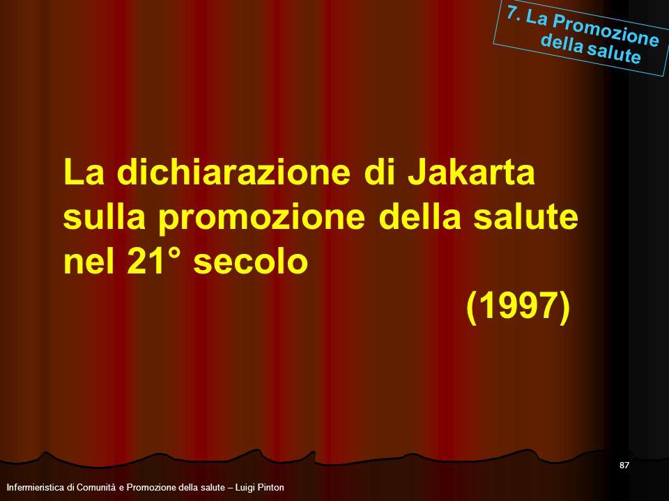 87 La dichiarazione di Jakarta sulla promozione della salute nel 21° secolo (1997) 7. La Promozione della salute Infermieristica di Comunità e Promozi