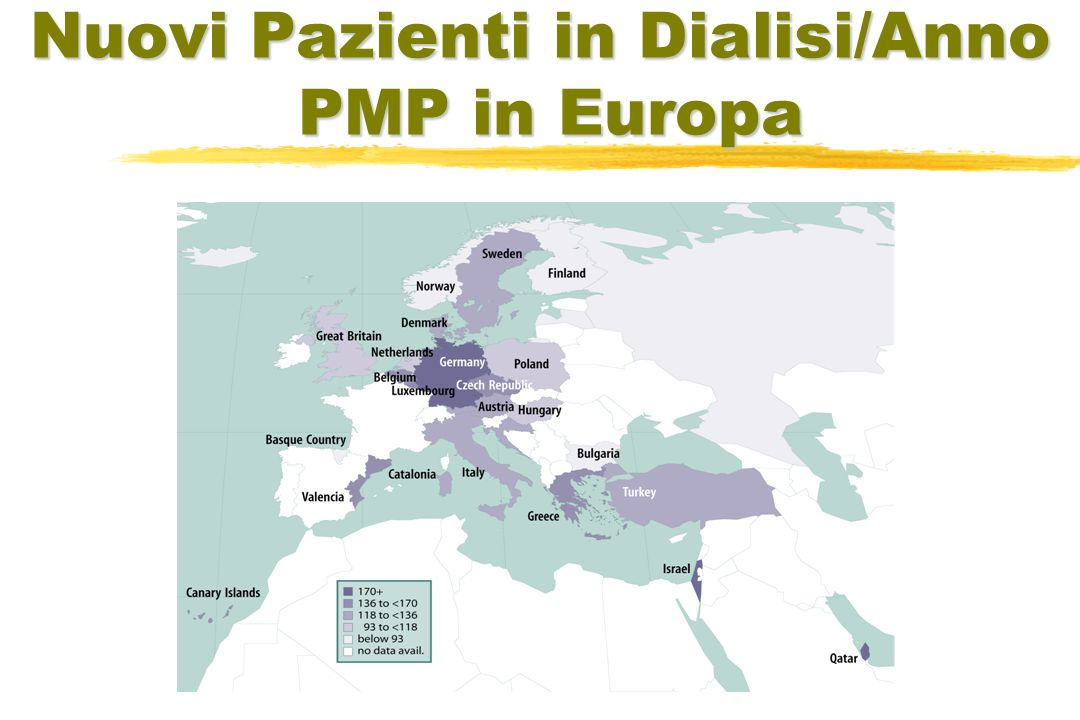 Nuovi Pazienti in Dialisi/Anno PMP in Europa