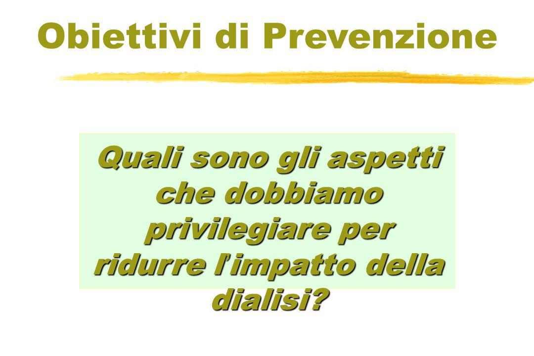 Quali sono gli aspetti che dobbiamo privilegiare per ridurre l impatto della dialisi? Obiettivi di Prevenzione