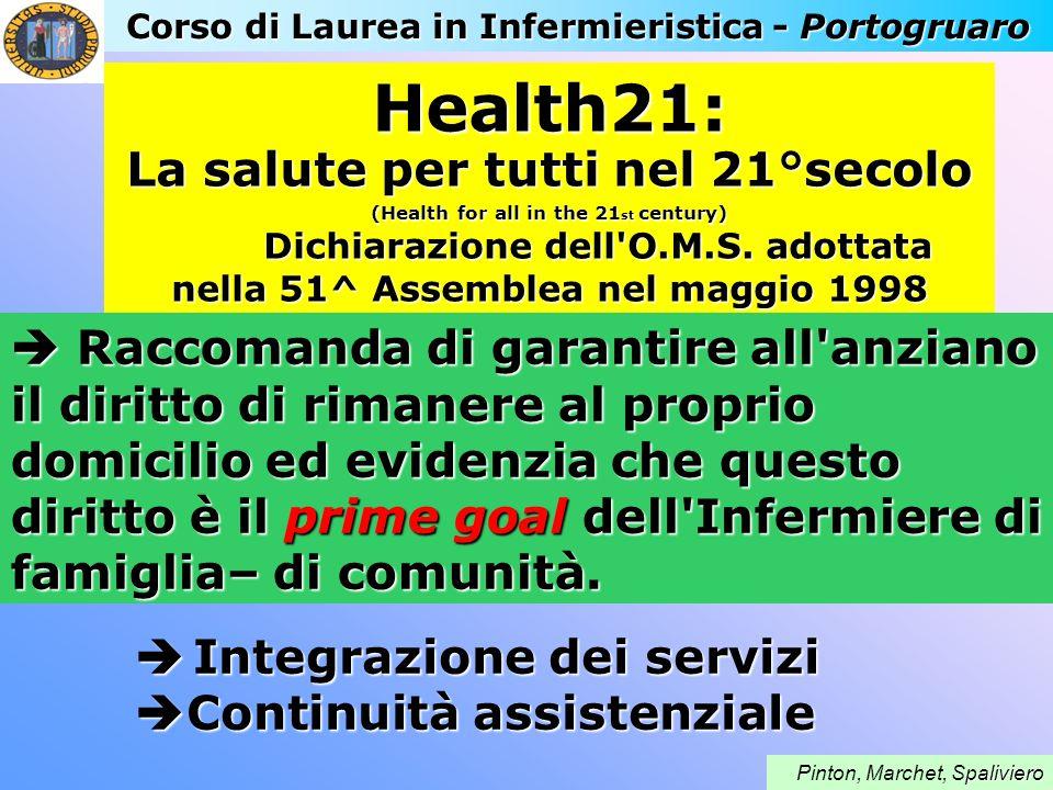 Corso di Laurea in Infermieristica - Portogruaro paliviero Pinton, Marchet, Spaliviero Health21: La salute per tutti nel 21°secolo (Health for all in
