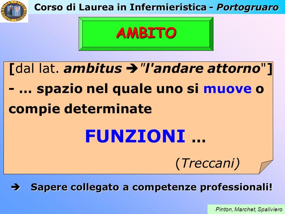 Corso di Laurea in Infermieristica - Portogruaro paliviero Pinton, Marchet, Spaliviero AMBITO [dal lat. ambitus