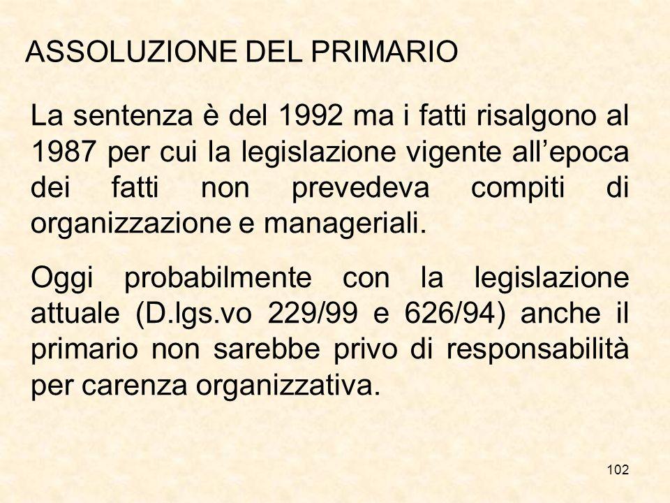 102 ASSOLUZIONE DEL PRIMARIO La sentenza è del 1992 ma i fatti risalgono al 1987 per cui la legislazione vigente allepoca dei fatti non prevedeva compiti di organizzazione e manageriali.