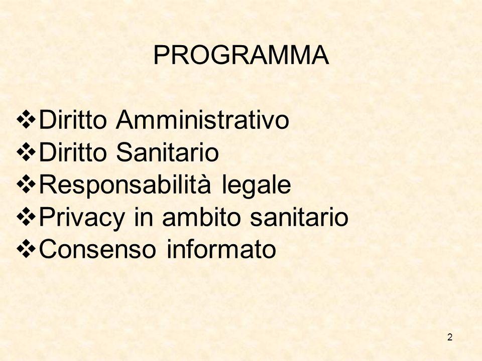 2 PROGRAMMA Diritto Amministrativo Diritto Sanitario Responsabilità legale Privacy in ambito sanitario Consenso informato