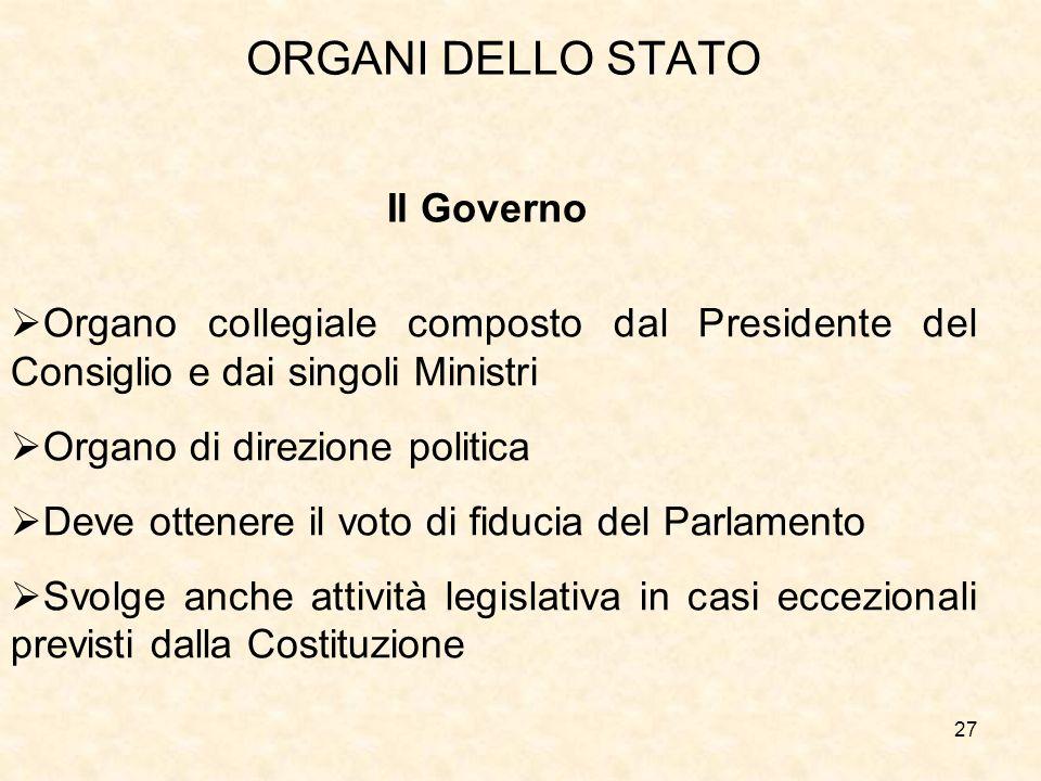 27 ORGANI DELLO STATO Il Governo Organo collegiale composto dal Presidente del Consiglio e dai singoli Ministri Organo di direzione politica Deve otte