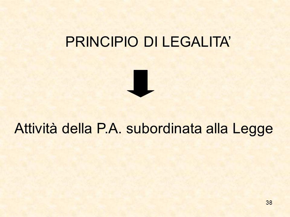 38 PRINCIPIO DI LEGALITA Attività della P.A. subordinata alla Legge