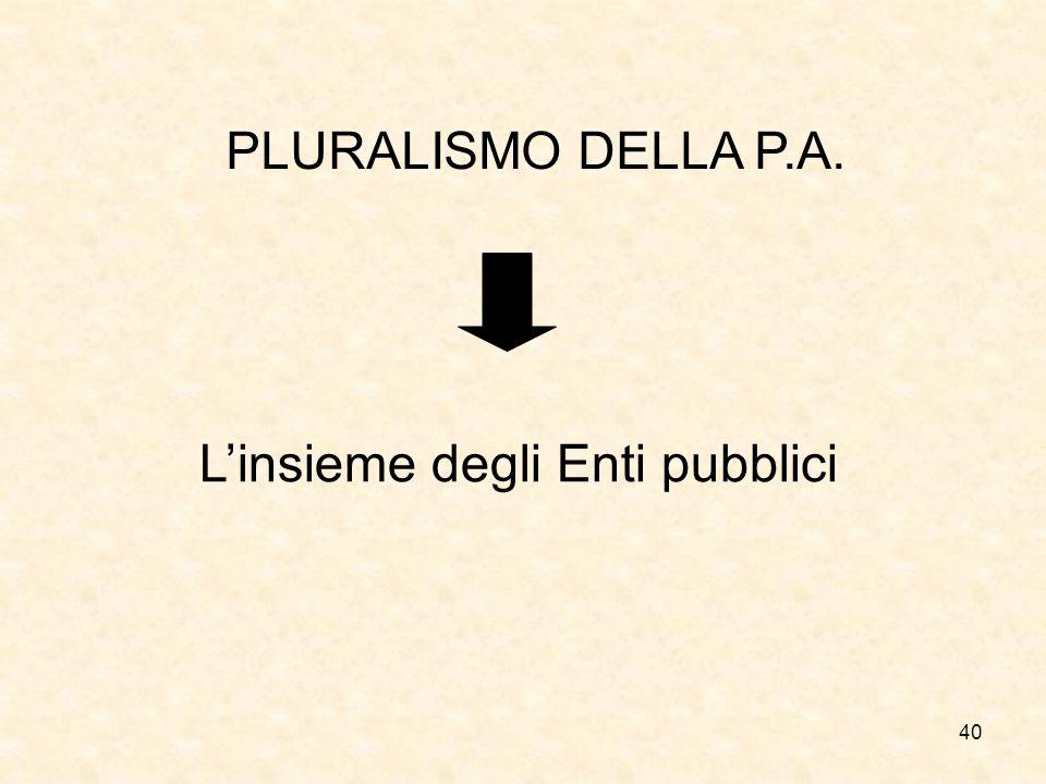 40 PLURALISMO DELLA P.A. Linsieme degli Enti pubblici