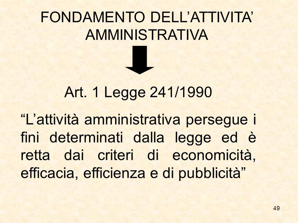 49 FONDAMENTO DELLATTIVITA AMMINISTRATIVA Art. 1 Legge 241/1990 Lattività amministrativa persegue i fini determinati dalla legge ed è retta dai criter