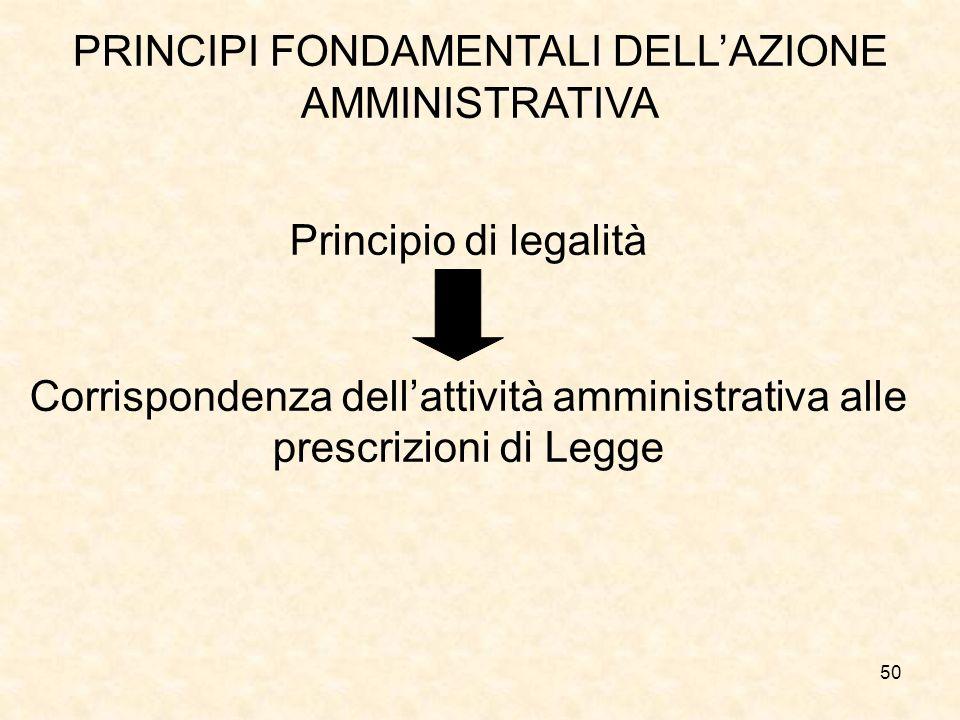 50 PRINCIPI FONDAMENTALI DELLAZIONE AMMINISTRATIVA Principio di legalità Corrispondenza dellattività amministrativa alle prescrizioni di Legge