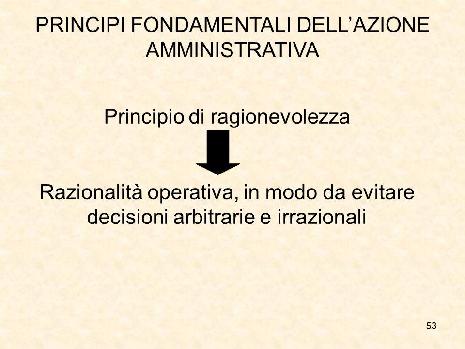 53 PRINCIPI FONDAMENTALI DELLAZIONE AMMINISTRATIVA Principio di ragionevolezza Razionalità operativa, in modo da evitare decisioni arbitrarie e irrazi