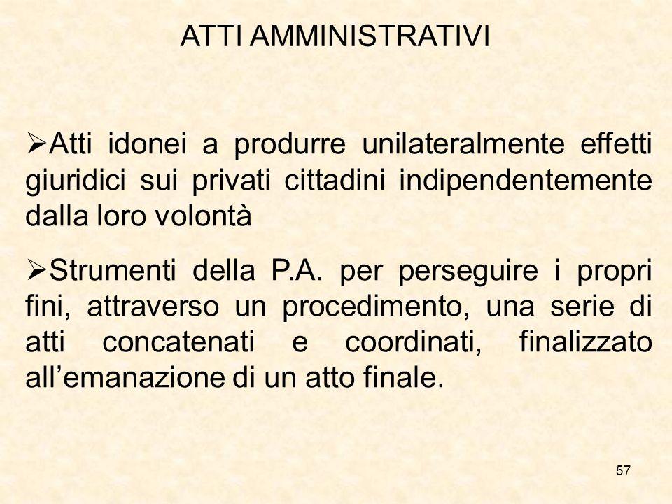 57 ATTI AMMINISTRATIVI Atti idonei a produrre unilateralmente effetti giuridici sui privati cittadini indipendentemente dalla loro volontà Strumenti della P.A.