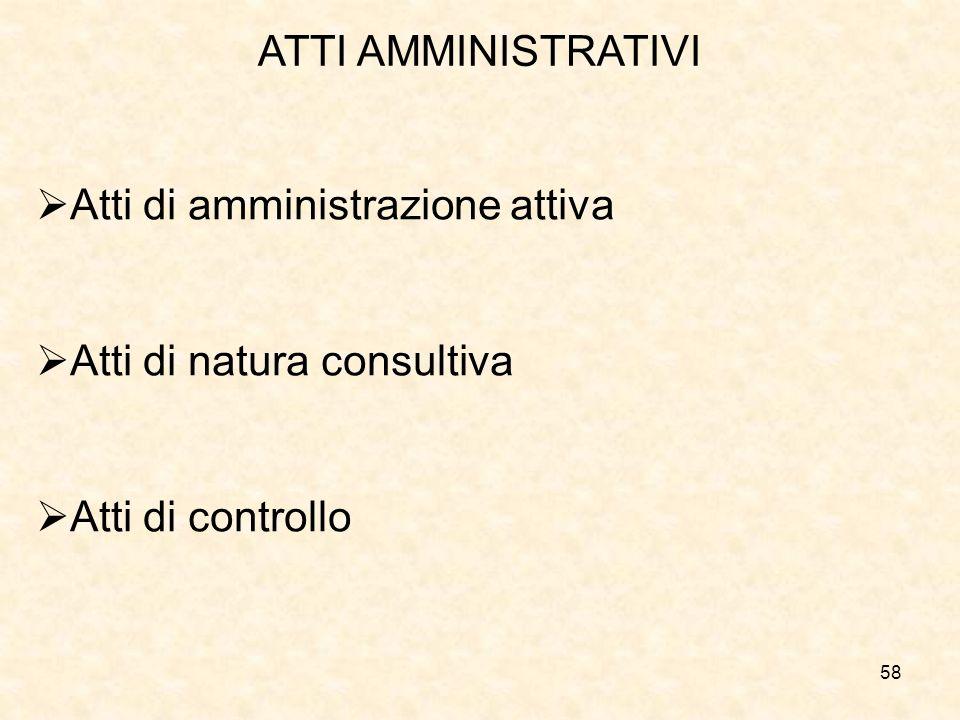 58 ATTI AMMINISTRATIVI Atti di amministrazione attiva Atti di natura consultiva Atti di controllo