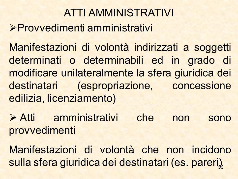 59 ATTI AMMINISTRATIVI Provvedimenti amministrativi Manifestazioni di volontà indirizzati a soggetti determinati o determinabili ed in grado di modifi